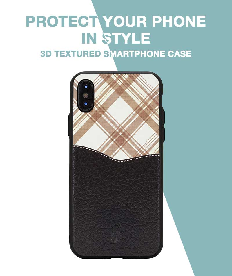 Black Leather checkered Case For iPhone Xs Max