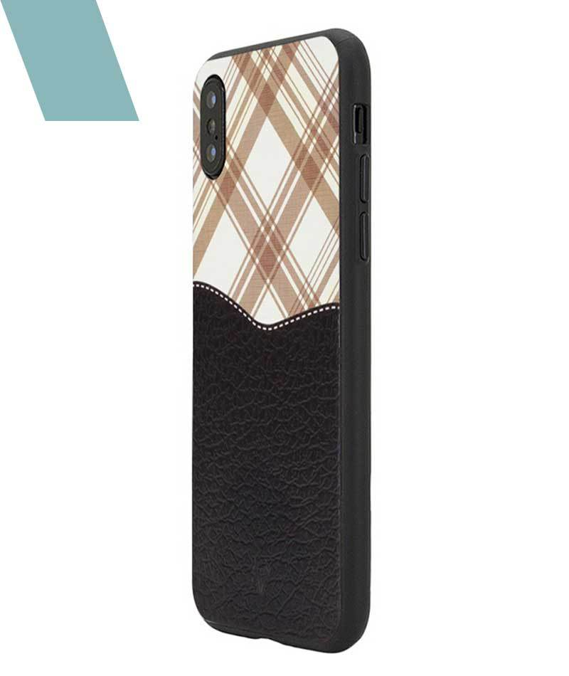 Black Leather checkered Case For iPhone Xs