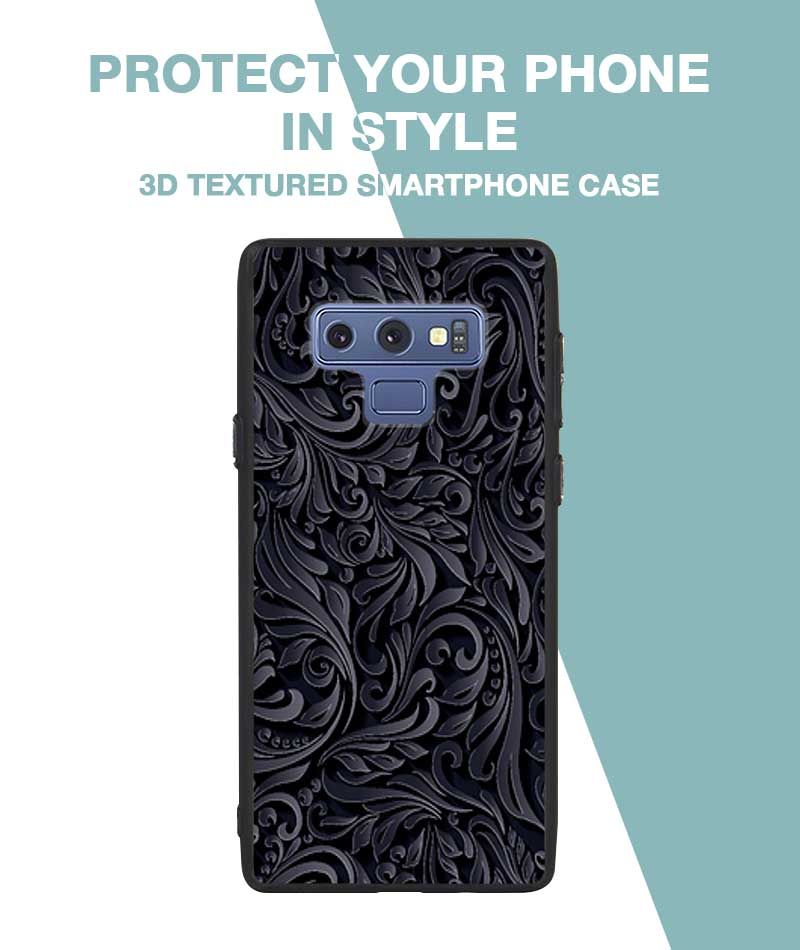 Black and Grey Floral Case For Galaxy Note 9
