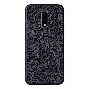 Black and Grey Floral Case For OnePlus 7
