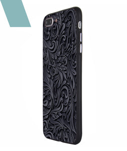 Black and Grey Floral Case For iPhone 7 Plus