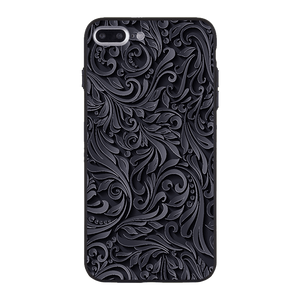 Black and Grey Floral Case For iPhone 8 Plus