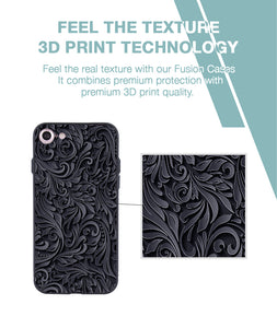Black and Grey Floral Case For iPhone 7