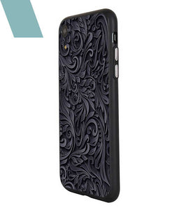 Black and Grey Floral Case For iPhone XR