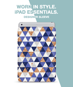 Blue Glitter Triangles Flow Sleeve For iPad 9.7""