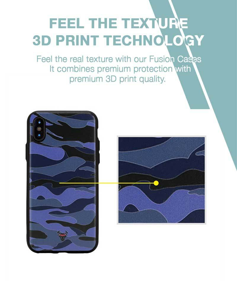 Camouflage Blue Case For iPhone Xs