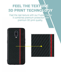 Carbon Black Red Stripe Case For OnePlus 6T