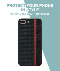 Carbon Black Red Stripe Case For iPhone 8 Plus