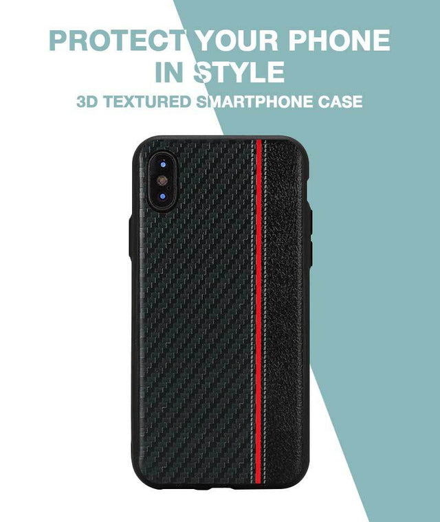 Carbon Black Red Stripe Case For iPhone X
