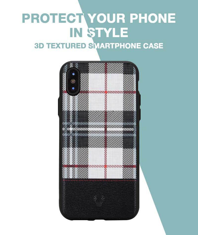Checkered White Case For iPhone Xs