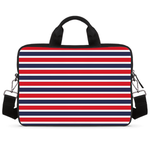 Classic Red Stripes Jade Black Laptop Briefcase 14""