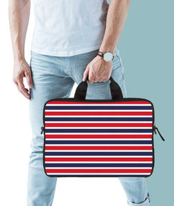 Classic Red Stripes Jade Black Laptop Briefcase