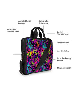 Graffic Print Jade Black Laptop Briefcase 14""