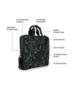 Green Camouflage Jade Black Laptop Briefcase