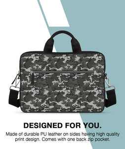 Grey Camouflage Jade Black Laptop Briefcase