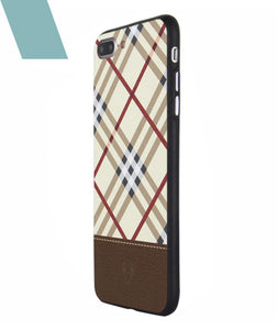 Leather Checkered Yellow Case For iPhone 8 Plus