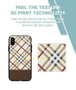Leather Checkered Yellow Case For iPhone X