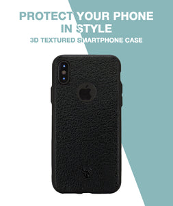 Leather Feel Black Case For iPhone Xs
