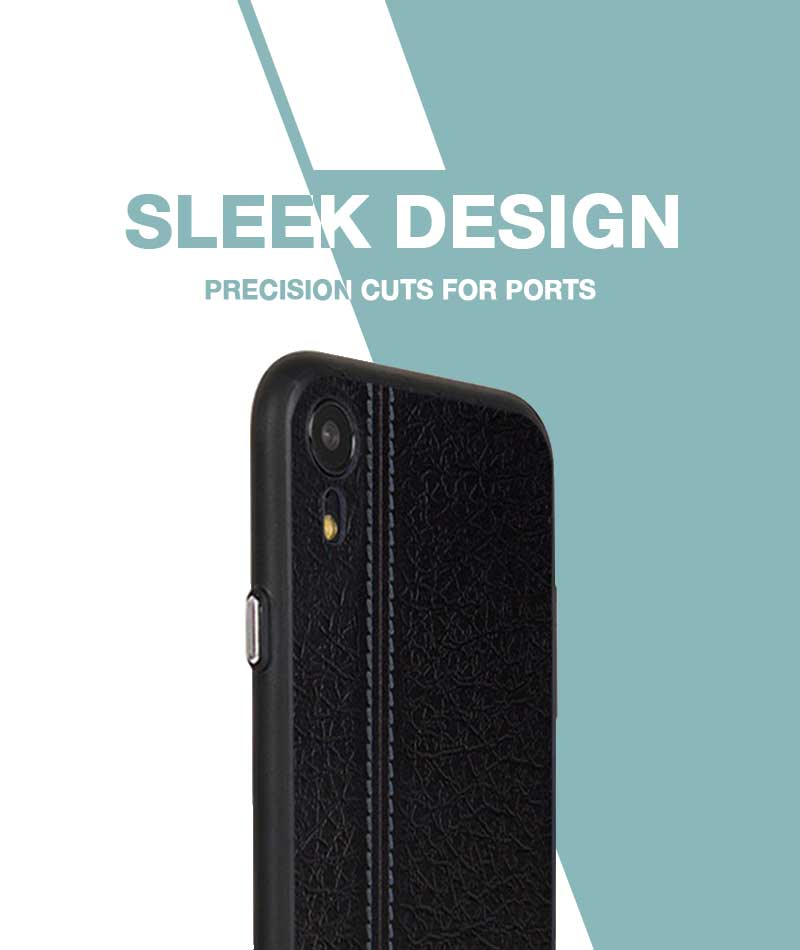 Leather Seam Grey Case For iPhone XR