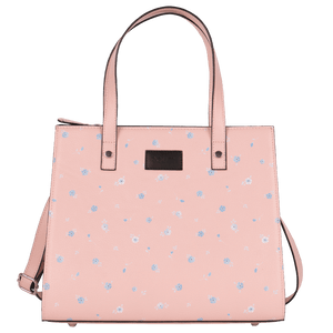 Polka Dotted Flowers Pink Top Handle Bag Medium