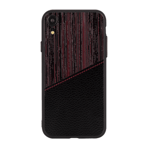 Red Wood leather Case For iPhone XR