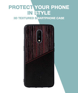 Red Wood Leather Case For OnePlus 7