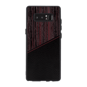 Red Wood leather Case For Galaxy Note 8