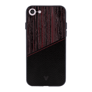 Red Wood leather Case For iPhone 7