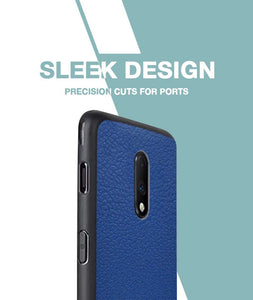 Rich Blue Leather Case For OnePlus 7