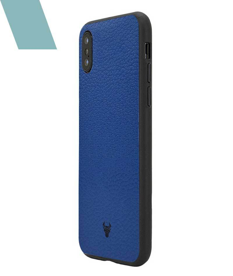 Rich Blue Leather Case For iPhone Xs