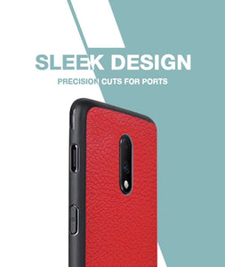 Rich Red Leather Case For OnePlus 7