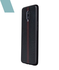 Stitch Leather Black Case For OnePlus 6T