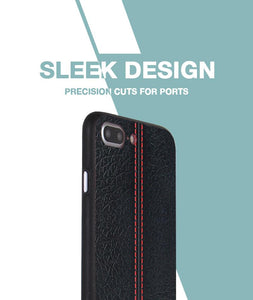 Stitch Leather Black Case For iPhone 8 Plus
