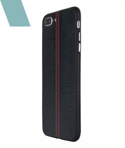 Stitch Leather Black Case For iPhone 7 Plus