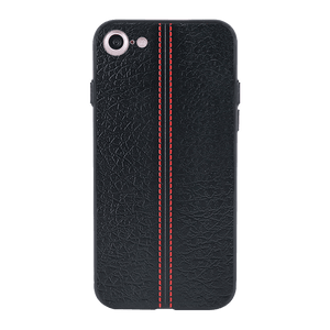 Stitch Leather Black Case For iPhone 7