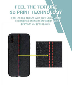 Stitch Leather Black Case For iPhone X