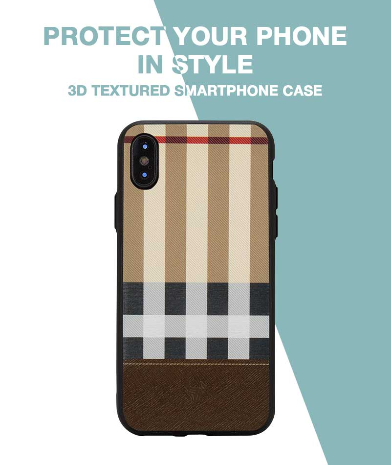 Tan Check Case For iPhone Xs