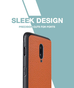 Tan Leather Case For OnePlus 6T