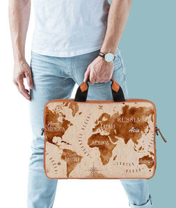 The World Is Here Tan Laptop Briefcase 14""