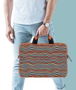 Trippy Crazy Waves Tan Laptop Briefcase