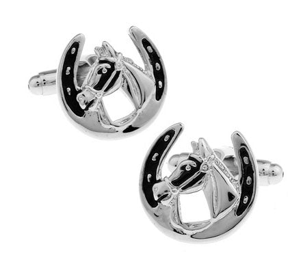 Enamel Horseshoe Cufflinks - KENETIC WAREHOUSE