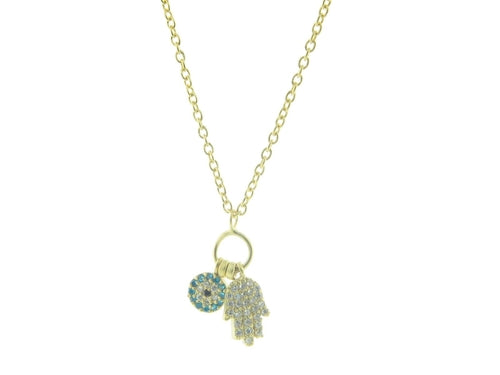 Sparkling Hamsa & Evil Eye Necklace - Royal Loot
