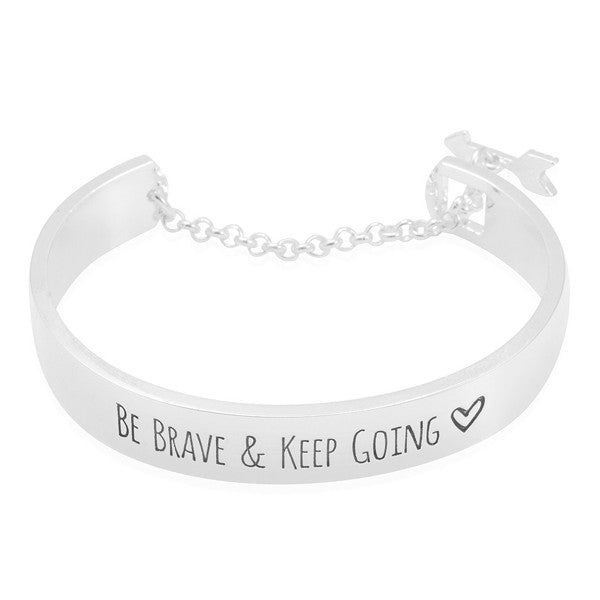 Be Brave & Keep Going Engraved Bangle - Royal Loot