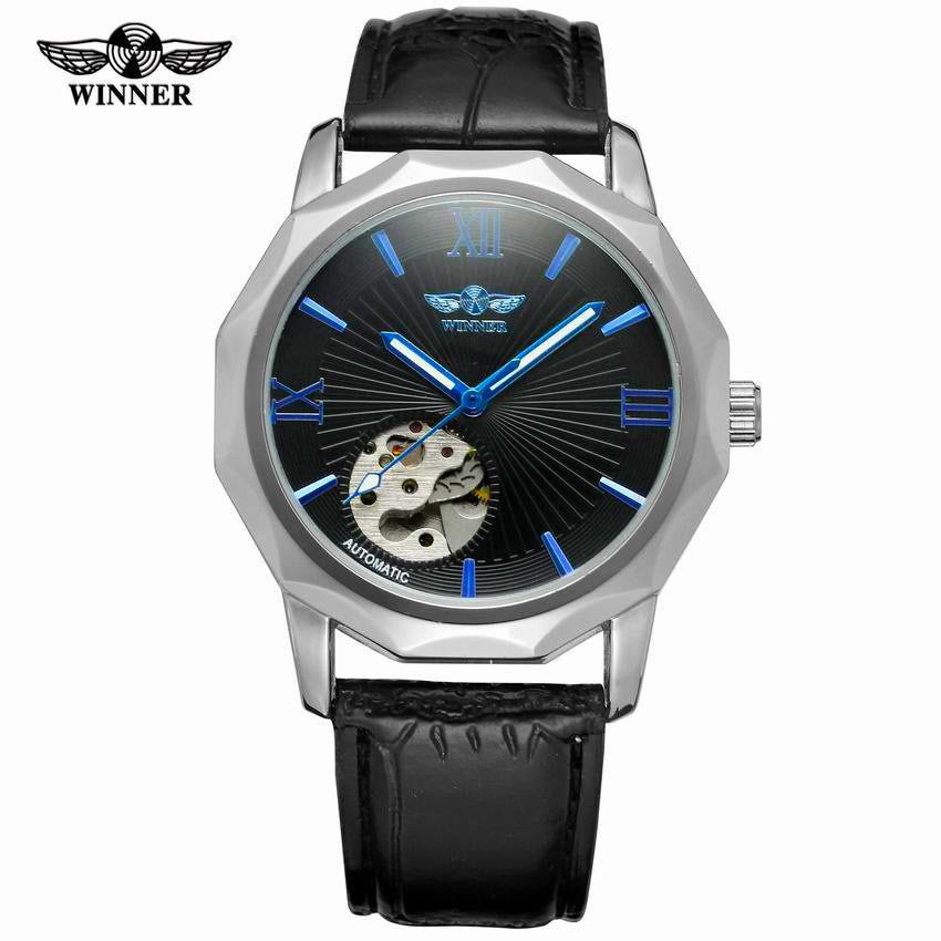 Winner Brand Blue Exotic Dodecagon Design Skeleton Dial Men Watch - Royal Loot