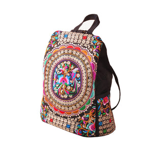 Women Girls Ethnic Style Embroidery Canvas School Bag Backpack Rucksack Travel Bag Handbags - Royal Loot