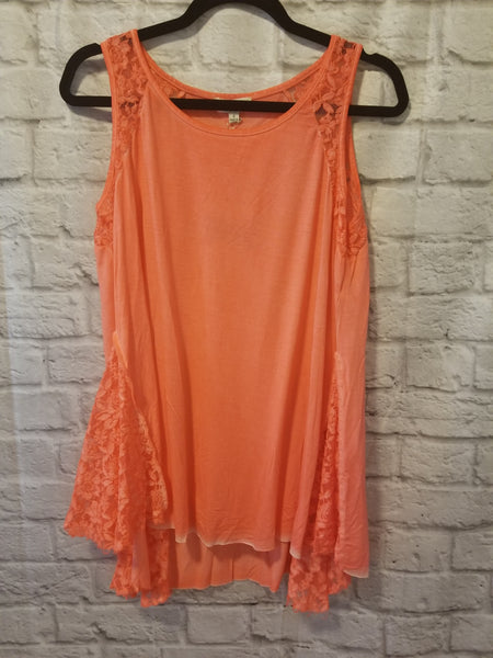 Coral Tank with Lace Detail