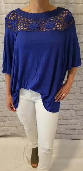 Royal Blue Top With Crochet Detail