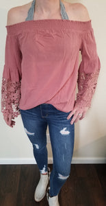 Rose Colored On/Off Shoulder Top With Crochet Sleeves