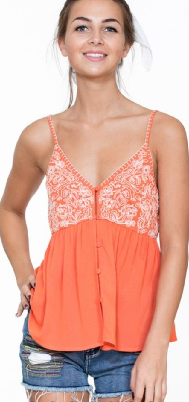 Orange Tank With White Embroidery