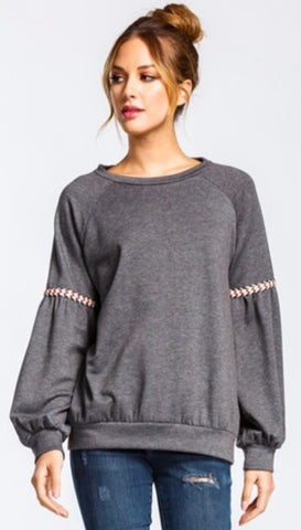 Grey Swestshirt With Embroidery Detail